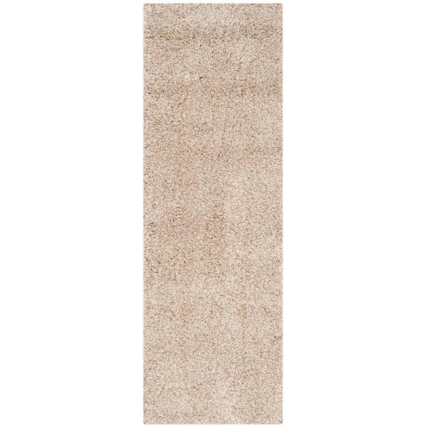 California Shag Beige 2 ft. x 9 ft. Runner Rug