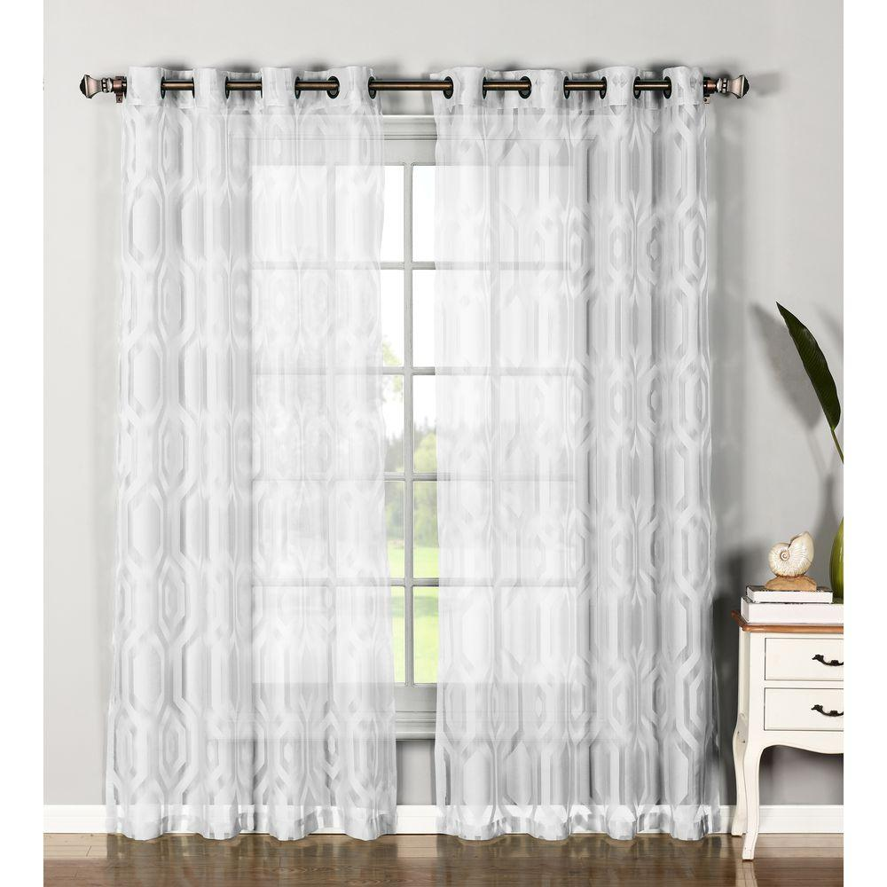 Window Elements Sheer Delta Cotton Blend Burnout Sheer Extra Wide 84 In L Grommet Curtain Panel