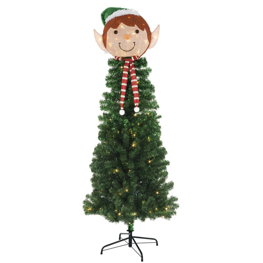 Home Accents Holiday 6.5 ft. Pre-Lit Elf Head Artificial Christmas ...