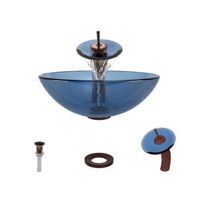 Glass Vessel Sink in Aqua with Waterfall Faucet and Pop-Up Drain in Oil Rubbed Bronze