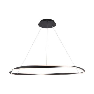 Eternal 41 in. 460-Watt Equivalent Integrated LED Black Pendant with Acrylic Shade