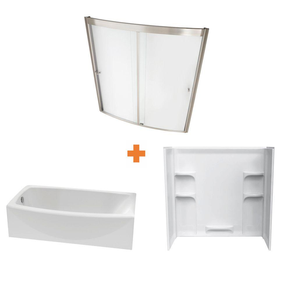 American Standard Ovation 60 in. Standard Fit Left Drain Bathtub Kit with Sliding Tub/Shower Wall and Door in Artic White (5 piece)