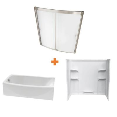 Ovation 60 in. Standard Fit Left Drain Bathtub Kit with Sliding Tub/Shower Wall and Door in Artic White (5 piece)