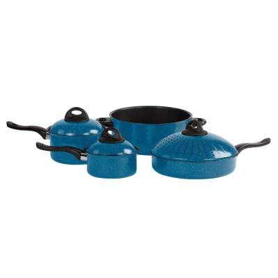 7-Pieces Nonstick Blue Carbon Steel Cookware Set with Pasta Pot and Lids