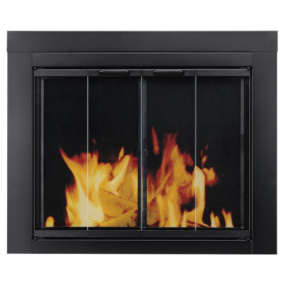 Glass Fireplace Doors Black Finish Heat Resistant Surface Mount