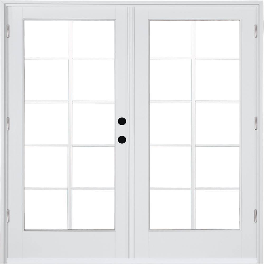 MP Doors 72 in. x 80 in. Fiberglass Smooth White Left-Hand Outswing Hinged Patio Door 10-Lite GBG