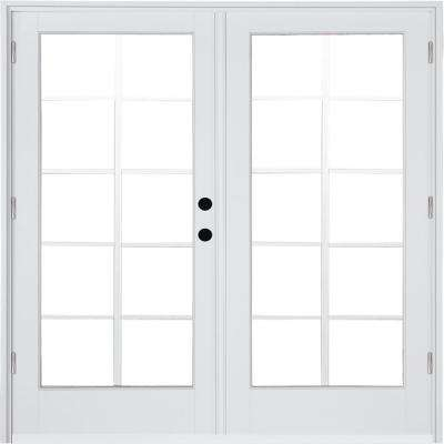 72 In X 80 In Fiberglass Smooth White Left Hand Outswing Hinged Patio Door 10 Lite Gbg