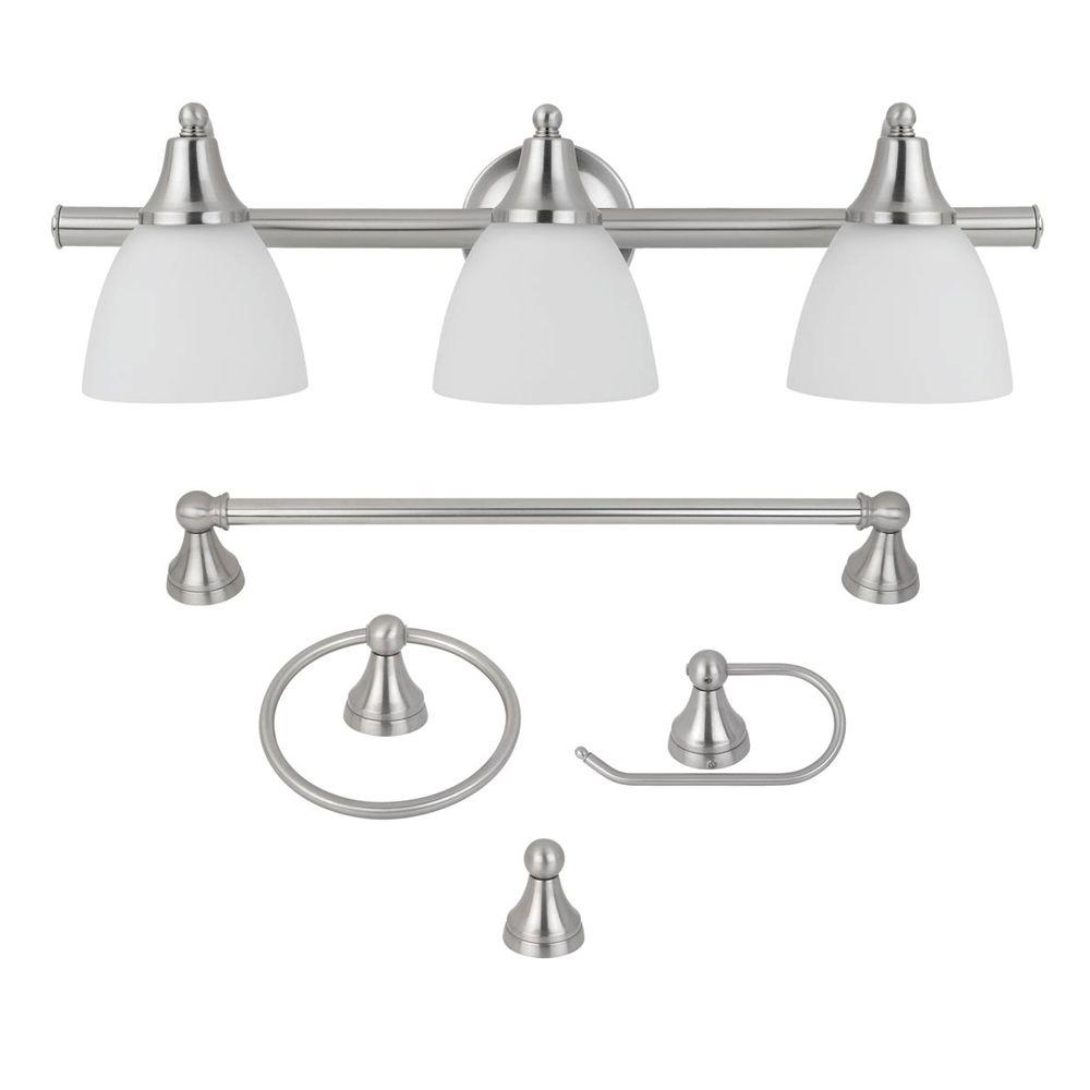 Clear vanity lighting lighting the home depot 5 piece estorial brushed steel all in one bath set arubaitofo Gallery
