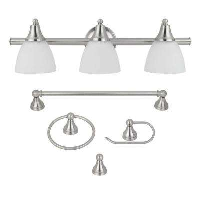 Estorial 3-Light Brushed Nickel Vanity Light With Frosted Glass Shades and (4-Piece) Bath Set