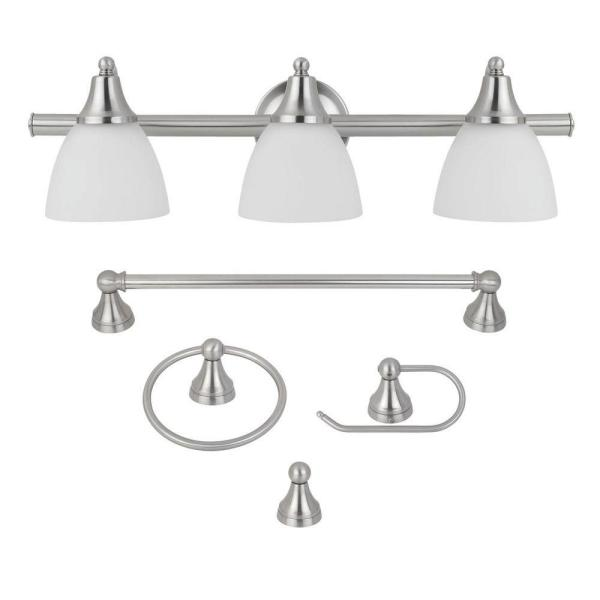 Estorial 3-Light Brushed Nickel Vanity Light with Frosted Glass Shades and Bath Set (4-Piece)
