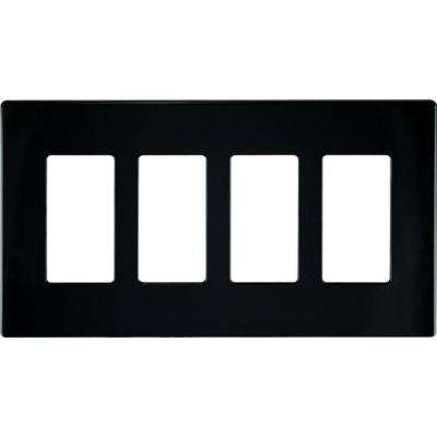 4-Gang Screwless Decorator Polycarbonate Wall Plate, Black