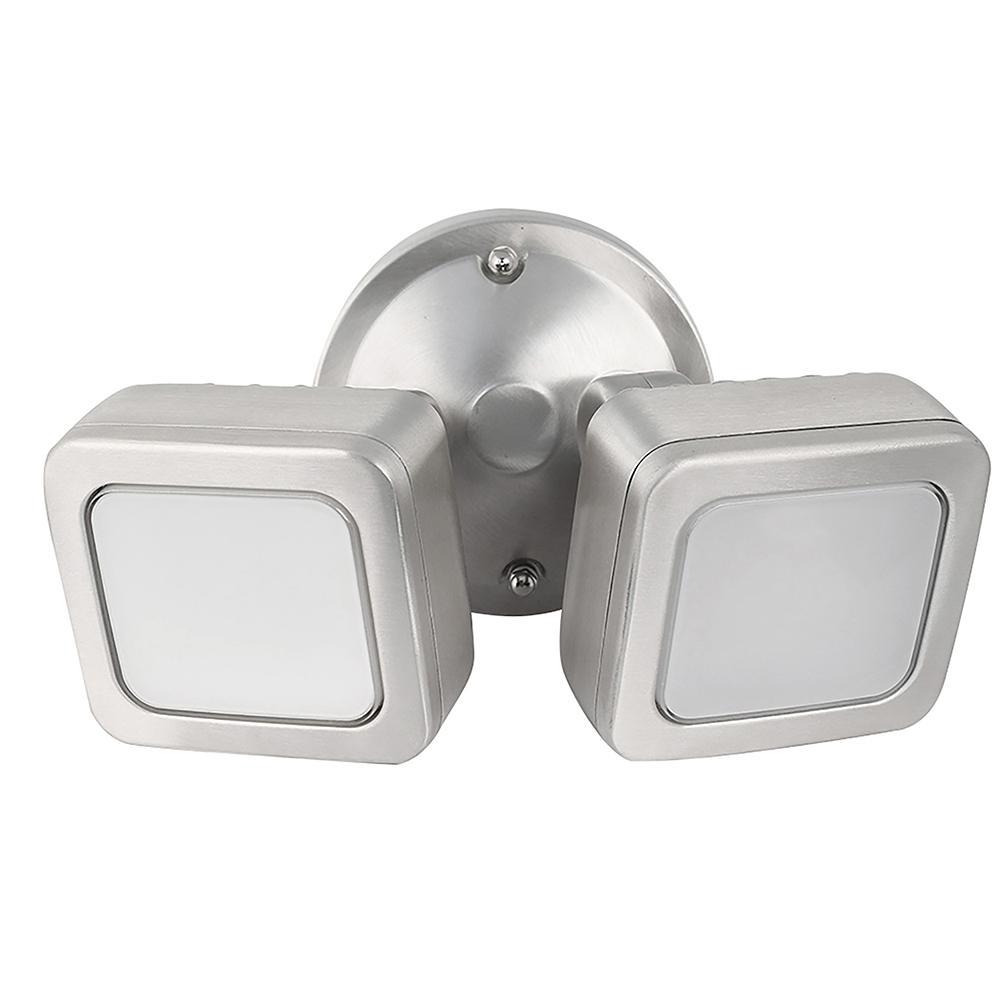 36-Watt Stainless Outdoor Security Mini Dual Head Dusk to Dawn Photocell Sensor Integrated LED Flood Light