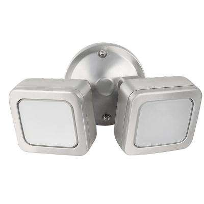 36-Watt Stainless Outdoor Integrated LED Mini Dual Head Flood Light with Dusk to Dawn Photocell