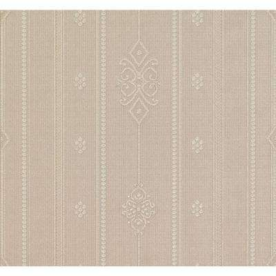 Pasquale Taupe Embellished Stripe Wallpaper