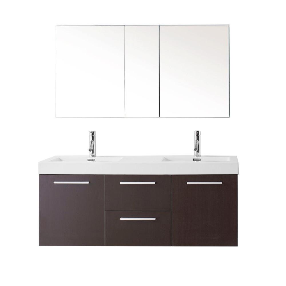 Virtu USA Midori 54.33 in. W Double Basin Vanity in Wenge with Poly ...