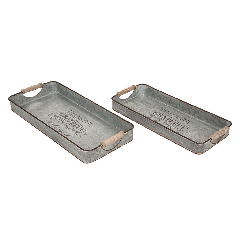 Glitzhome 18.5 in. L Iron Rect Galvanized Tray 2Asst