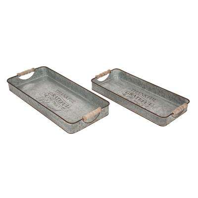 18.5 in. L Iron Rect Galvanized Tray 2Asst
