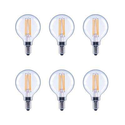 40-Watt Equivalent G16.5 Globe Dimmable Clear Glass Filament Vintage LED Light Bulb in Soft White (6-Pack)
