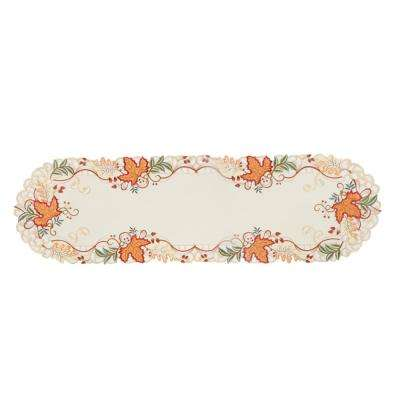 0.1 in. H x 15 in. W x 34 in. D Falling Leaves Embroidered Cutwork Table Runner