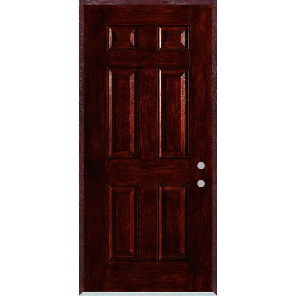 Stanley Doors 36 in. x 80 in. Left-Hand Infinity 6-Panel Stained Fiberglass Woodgrain Prehung Front Door with Brickmould