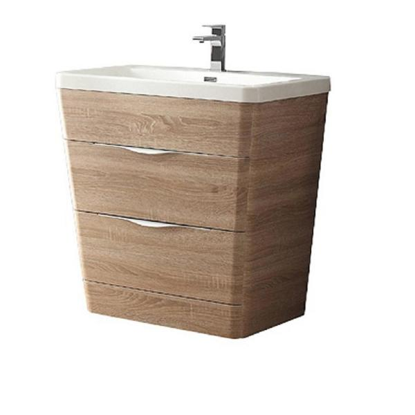 Milano 32 in. Vanity in White Oak with Acrylic Vanity Top in White