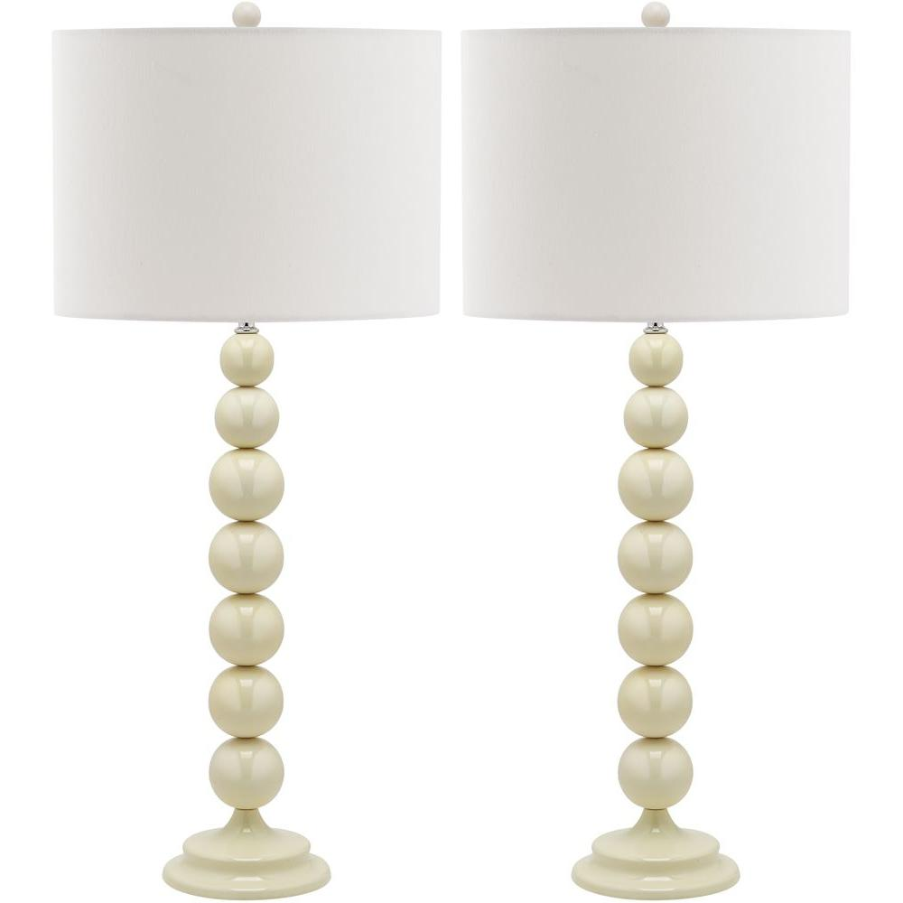 White Stacked Ball Lamp (Set Of 2)