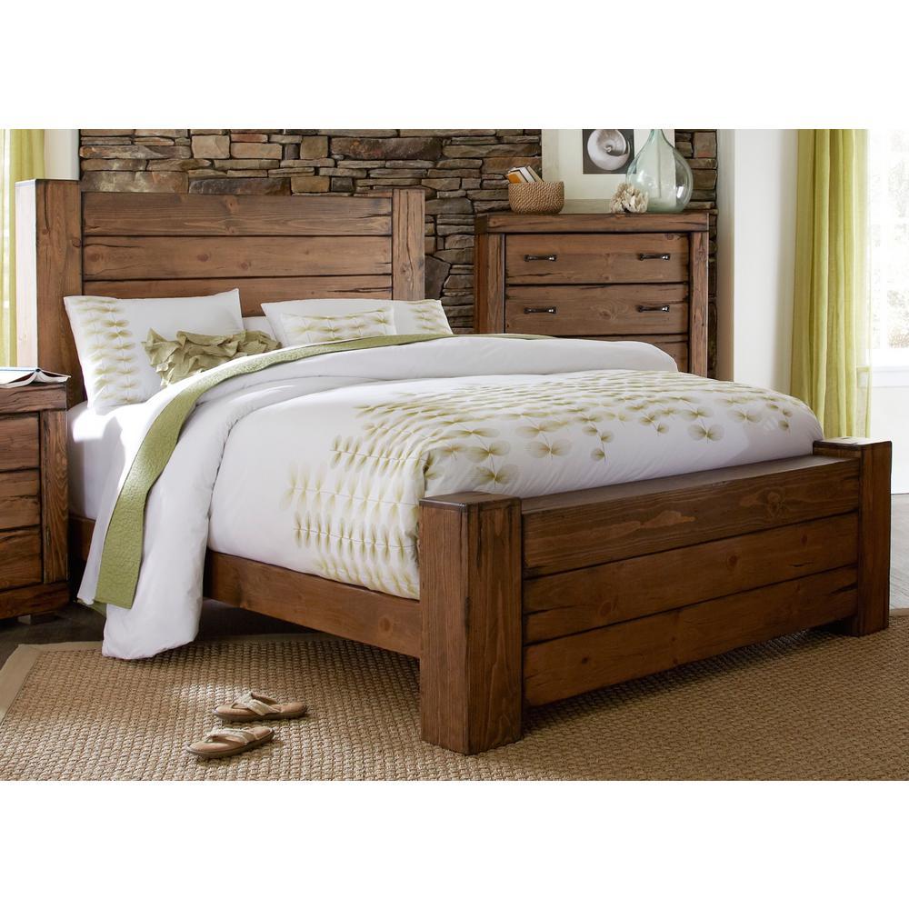 Maverick Driftwood King Complete Panel Bed