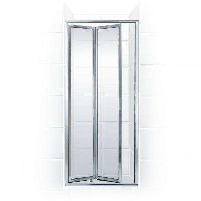 Paragon Series 26 in. x 71 in. Framed Bi-Fold Double Hinged Shower Door in Chrome and Clear Glass