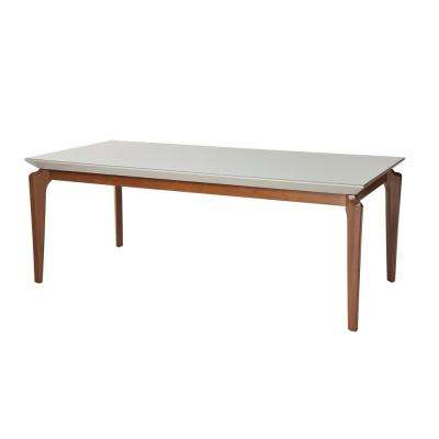 Payson 72.04 in. Off-White Glass Top Dining Table