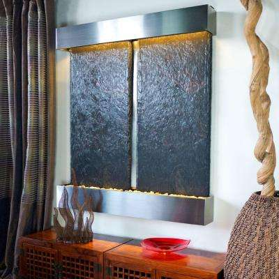Double Nojoqui Falls Lightweight Slate Wall Fountain in Stainless Steel Trim