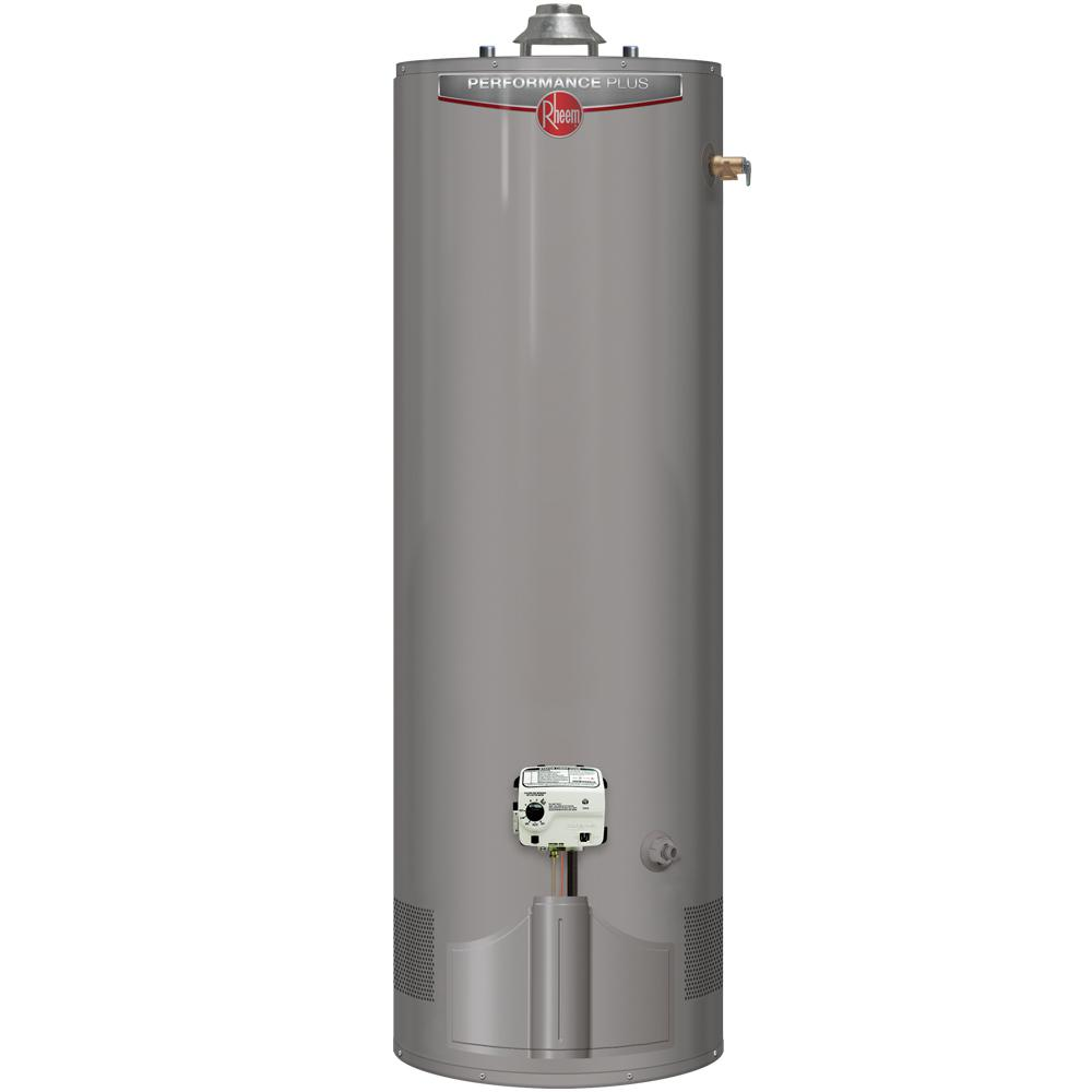 Rheem Hot Water Heaters >> Rheem Performance Plus 50 Gal. Tall 9 Year 38,000 BTU Ultra Low NOx (ULN) Natural Gas Tank Water ...
