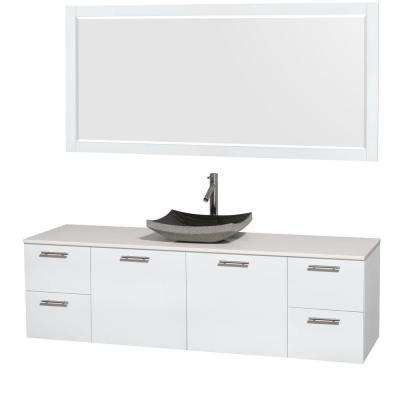 Amare 72 in. Vanity in Glossy White with Solid-Surface Vanity Top in White, Granite Sink and 70 in. Mirror