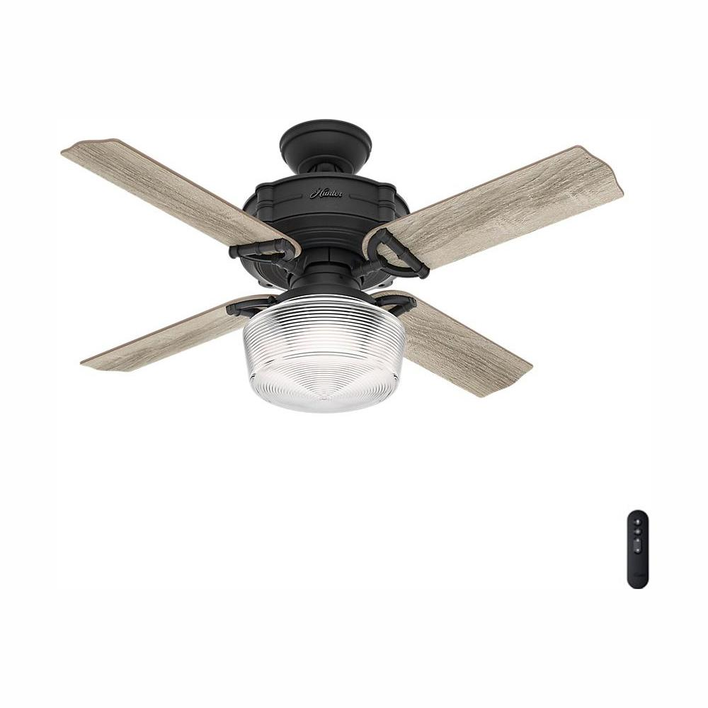 Hunter Brunswick 44 in. LED Indoor Natural Iron Ceiling Fan with Globe Light Kit and Handheld Remote Control
