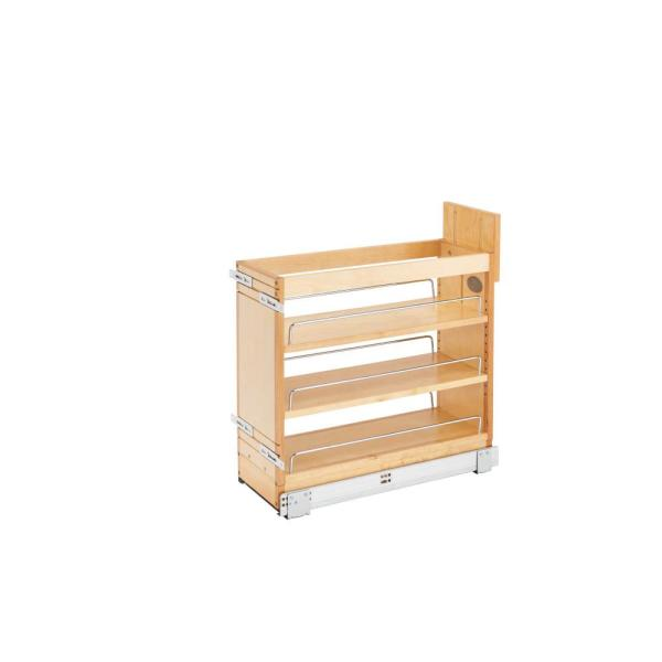 8 in. Pull-Out Wood Base Cabinet Organizer with Soft-Close Slides