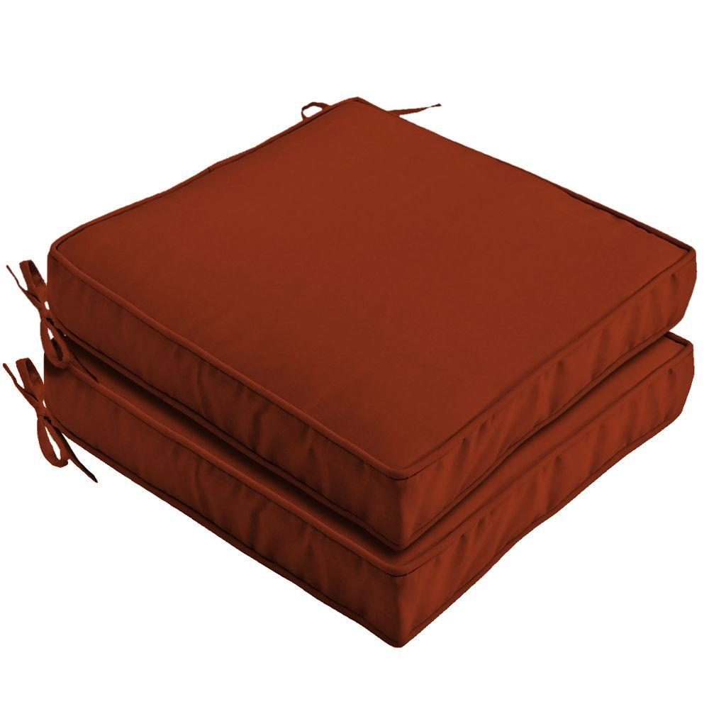 Hampton Bay Chili Red Solid Outdoor Seat Cushion (2-Pack)