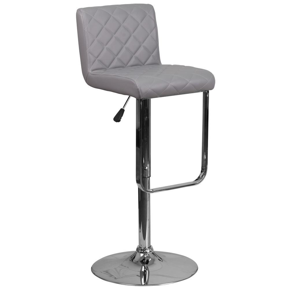 Flash Furniture Adjustable Height Gray Cushioned Bar Stool