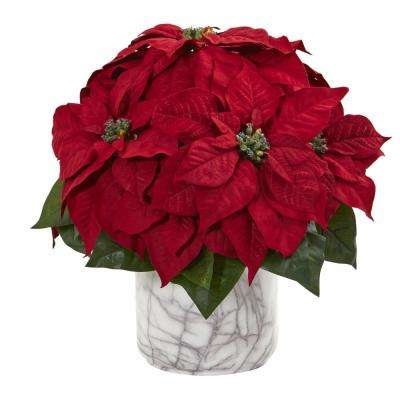 Indoor 15 in. Poinsettia Artificial Arrangement in Marble Finished Vase