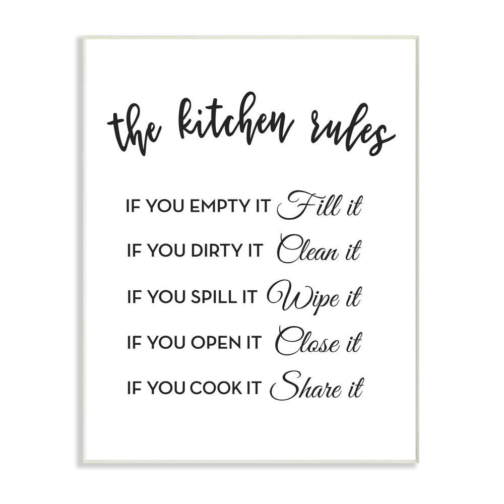 Stupell industries 12 5 in x 18 5 in the kitchen rules if you by lettered and lined printed wood wall art kwp 1082 wd 13x19 the home depot
