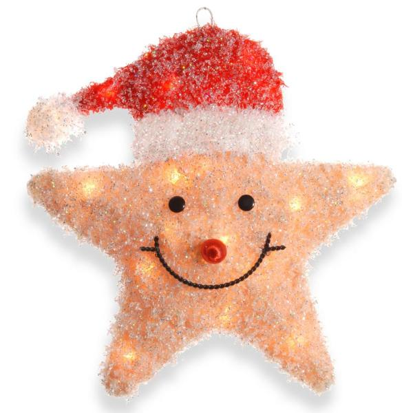 Pre-Lit 18 in. Smiling Yellow Star