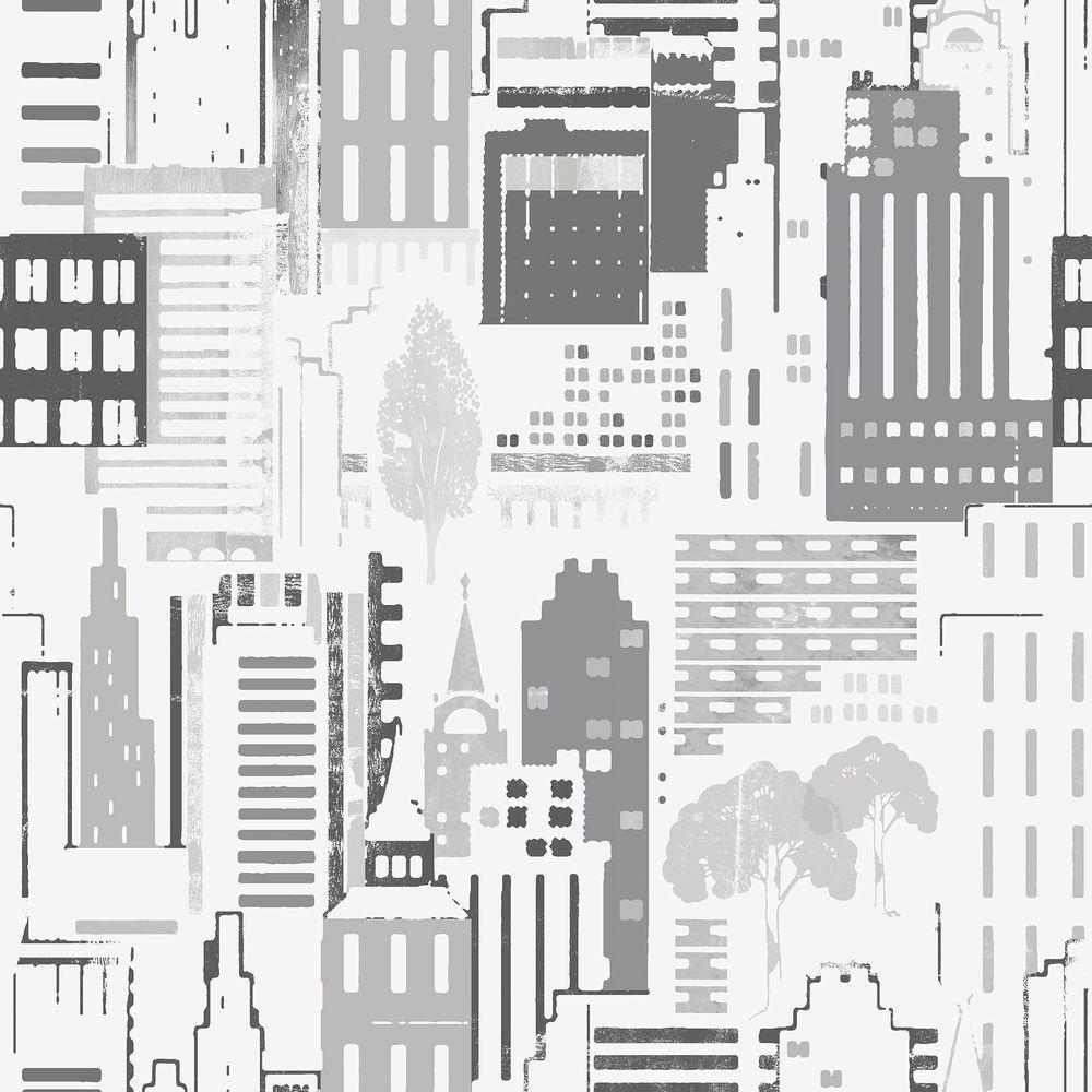 Black City Motif Wallpaper