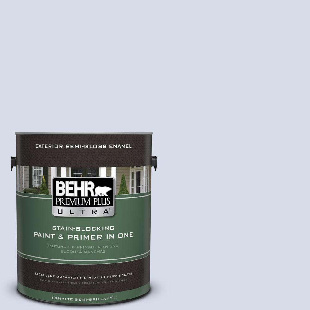 BEHR Premium Plus Ultra 1-gal. #590E-2 Snow Ballet Semi-Gloss Enamel Exterior Paint