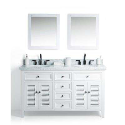 D Vanity In White With Cararra Marble