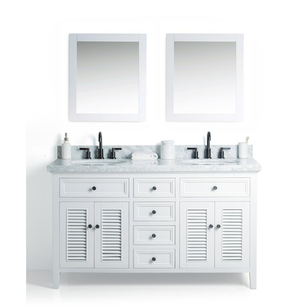 Legion Furniture 60 In W X 22 D Vanity White With Cararra Marble Top And Gray Basin Mirror