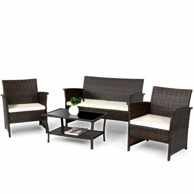 4-Piece Wicker Patio Conversation Outdoor Rattan Furniture Sofa Table Shelf Set with Beige Cushions