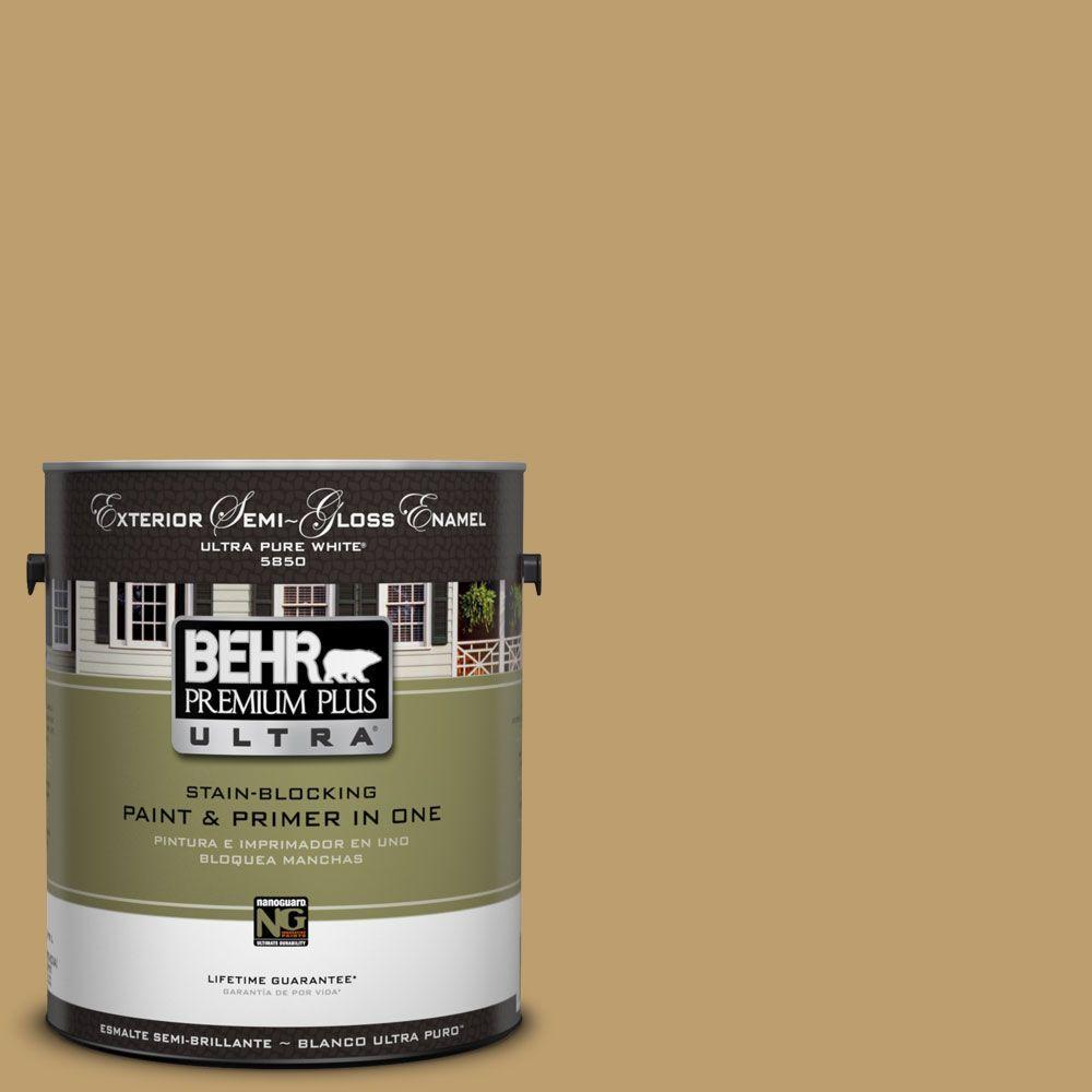 BEHR Premium Plus Ultra 1-Gal. #UL180-24 Ground Cumin Semi-Gloss Enamel Exterior Paint