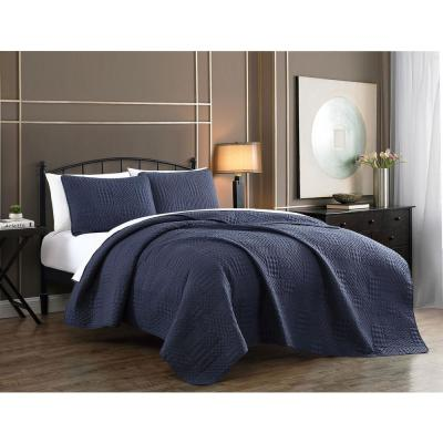 Yardley 3-Piece Navy Embossed King Quilt Set
