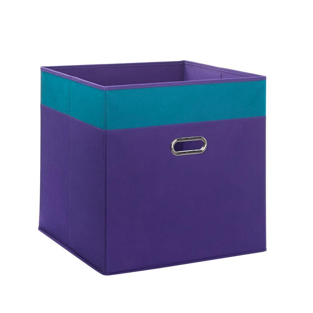 16 in. x 16 in. 2-Tone Jumbo Folding Storage Bin in Dark Purple with Turquoise