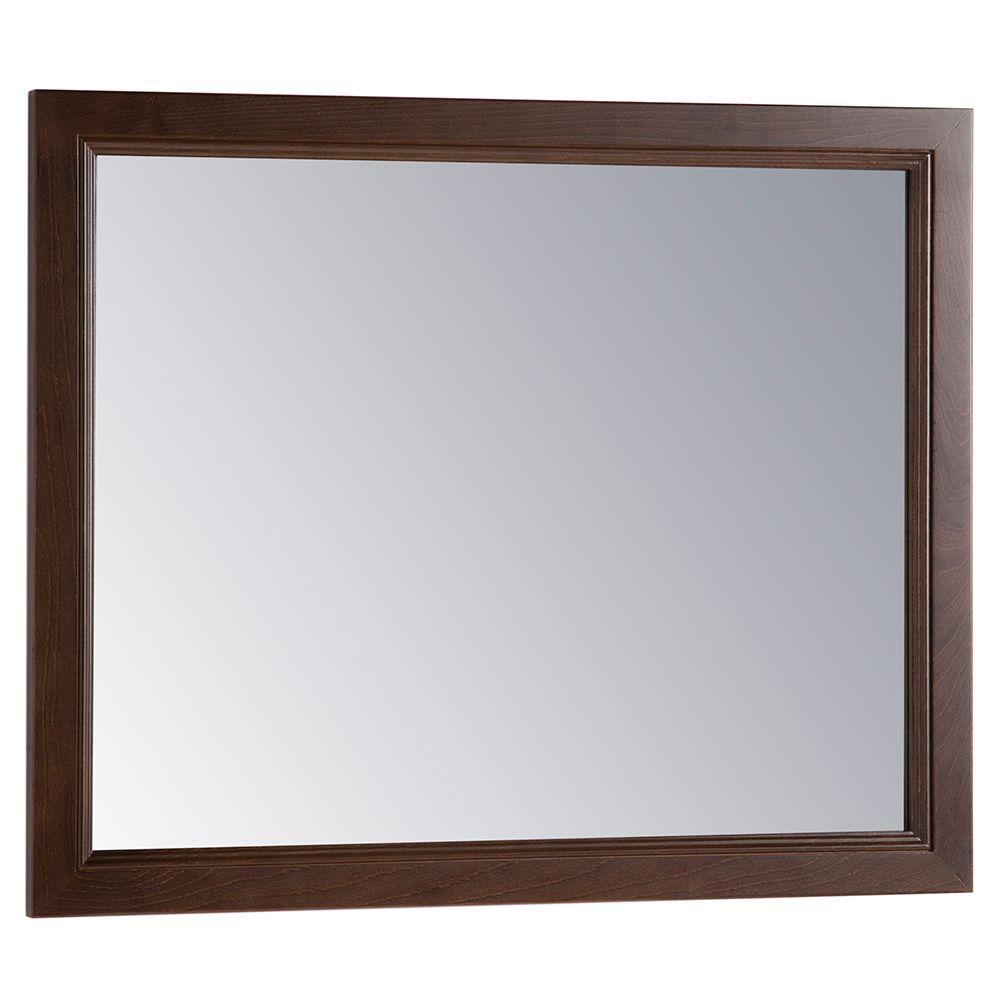 Teasian 26 in. x 31 in. Framed Single Wall Mirror in Cognac