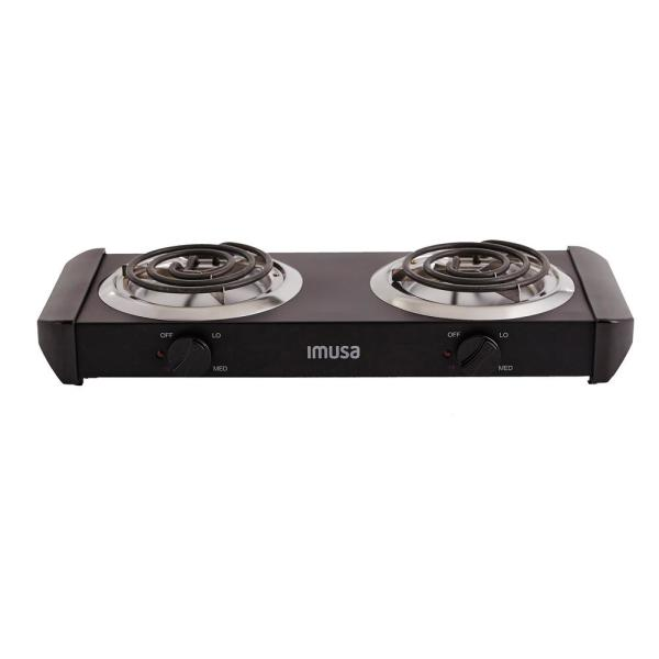 2-Burner 6 in. Black Hot Plate with Temperature Control