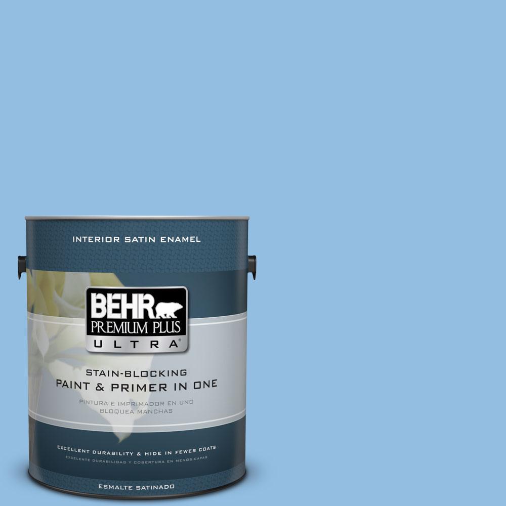 BEHR Premium Plus Ultra 1-gal. #P520-3 Toile Blue Satin Enamel Interior Paint